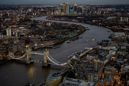 Towards Canary Wharf at dusk by John Tillotson